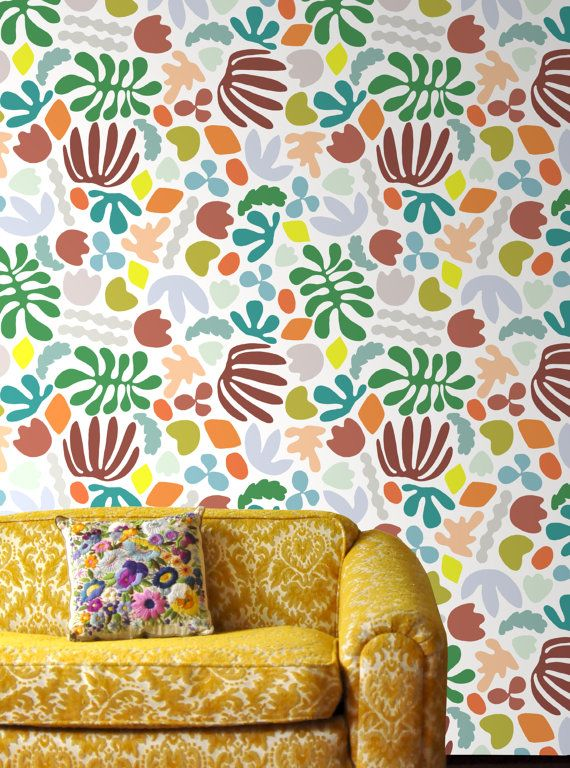 Removable Wallpaper // Matisse is my muse // by KateZarembaCompany  Not a big fan of this just because it's a little too busy for a wall, buuuut I like this seller's other stuff