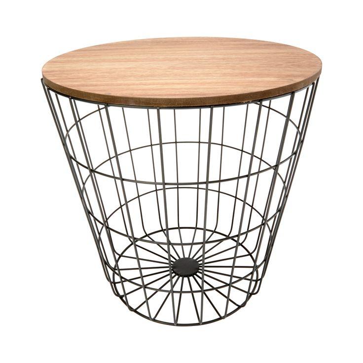Storage Wire Basket Table - Natural Look & Black | KmartNZ