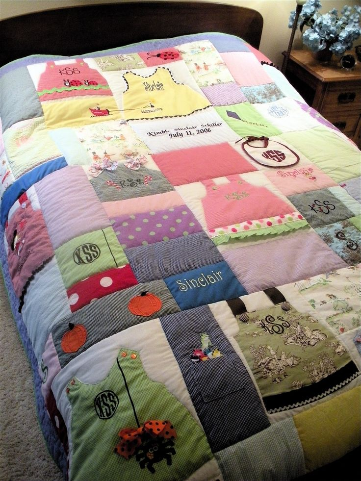 I think this idea is very cute, using the kids baby clothes to make a quilt