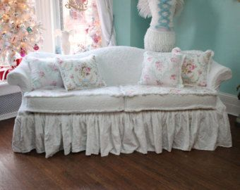 shabby chic sofa couch ruffle roses white chenille bedspread slipcover cottage prairie custom order