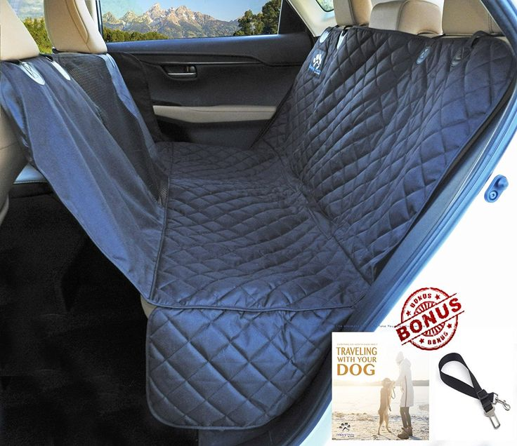 Happy Pets Pet Car Back Seat Cover Waterproof Hammock With Dog Belt Anchors Side Straps And Flaps Rear View For Large Animals Auto