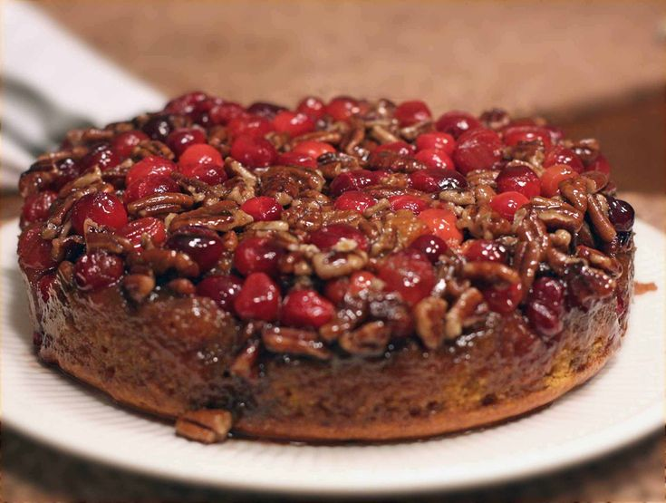 Life's Pumpkin Pecan Cranberry Upside Down Cake