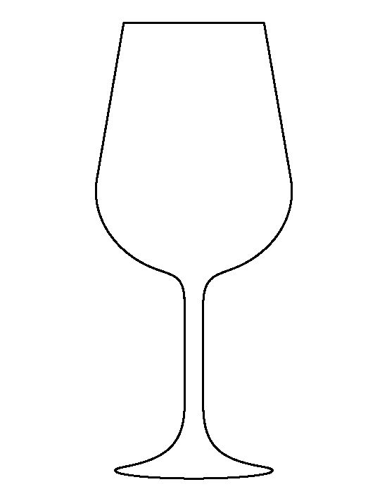 Wine glass pattern. Use the printable outline for crafts, creating stencils, scrapbooking, and more. Free PDF template to download and print at http://patternuniverse.com/download/wine-glass-pattern/