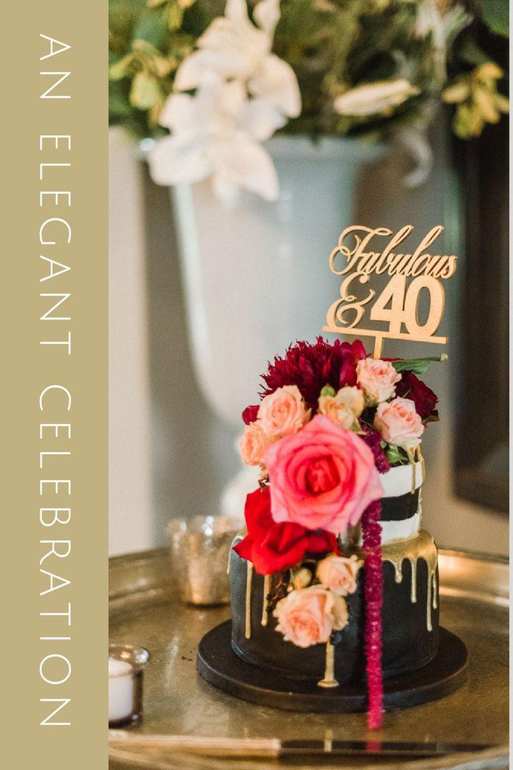 Elegant 40th birthday celebration. Chocolate ganache drip cake with freshly cut garden roses and peonies. #birthdaycake #40thbirthday #luxuryevent