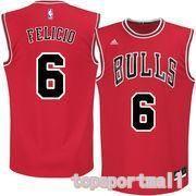 NBA Chicago Bulls 6 Cristiano Felicio Red Basketball Jersey Heat Applied