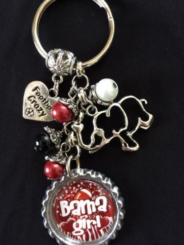 Alabama Crimson Tide Keychain Inspired Bottle Cap Charm Key Chain Bama Keychain