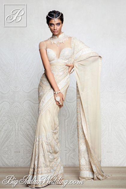 Tarun Tahiliani designer saree with intricate blouse