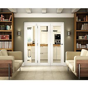 Wickes Belgrave Internal Folding 3 Door Set White Pre Finished 1 Lite 2074 X 1790mm