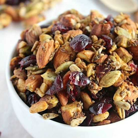 "Pumpkin & cranberry grain free ""granola"" with crisp nutty clust..."