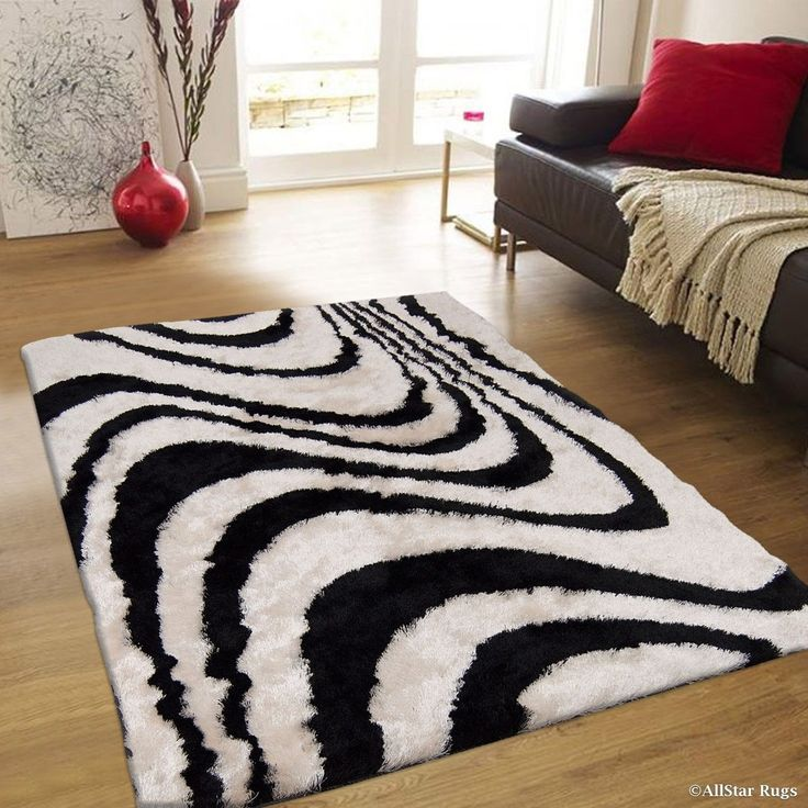 allstar black offwhite stripe design thick high pile rug 4u0027 11