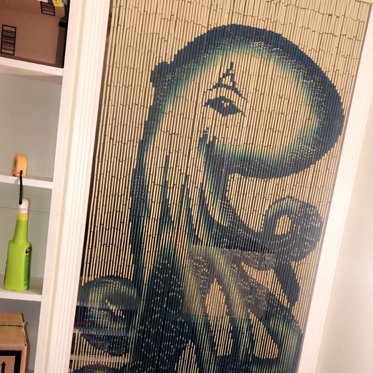 Octopus Doorway curtains, Painted bamboo beaded curtains