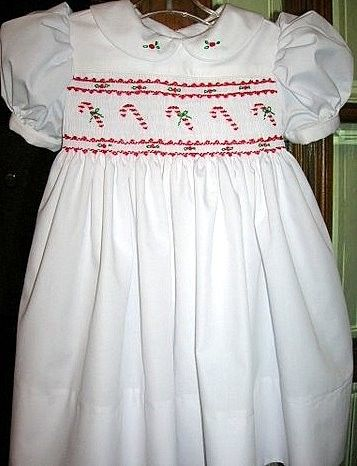 Girls Smocked Christmas Dress Candy Canes by GumdropGrove on Etsy, $64.00