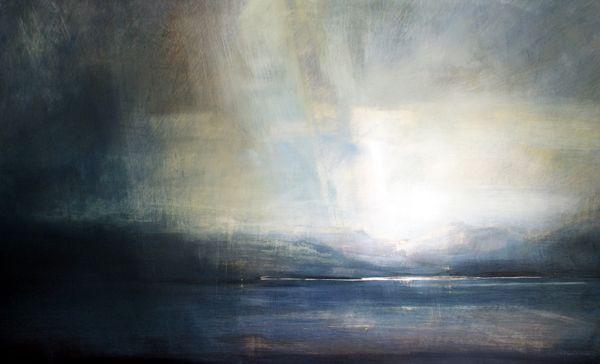 Dark Skies, Cuillin, Skye - Oil on Board - Zarina Stewart-Clark, Landscape Artist