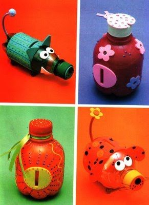 recycle plastic bottles to cute piggy banks @Melanie Kelly you think we could create monsters out of these? I think this would be the perfect craft at wesleys party- then they have something to take home that they can USE!