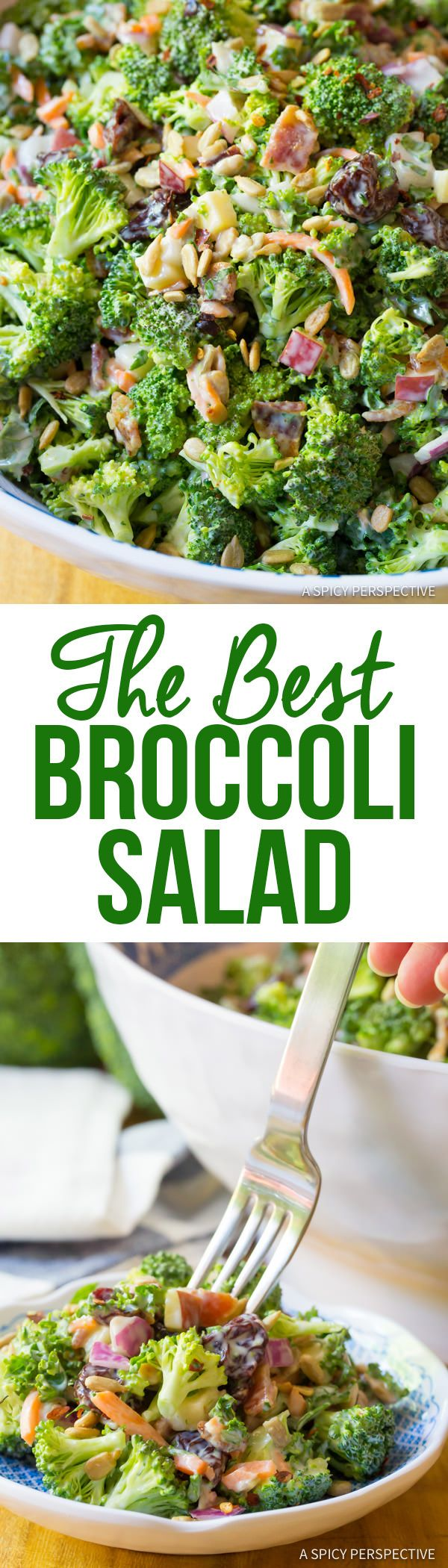 Absolutely The Best Broccoli Salad Recipe | ASpicyPerspective.com via @spicyperspectiv
