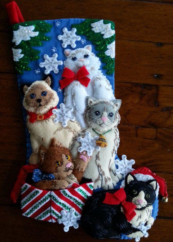 Bucilla Christmas Kitties 18  Completed