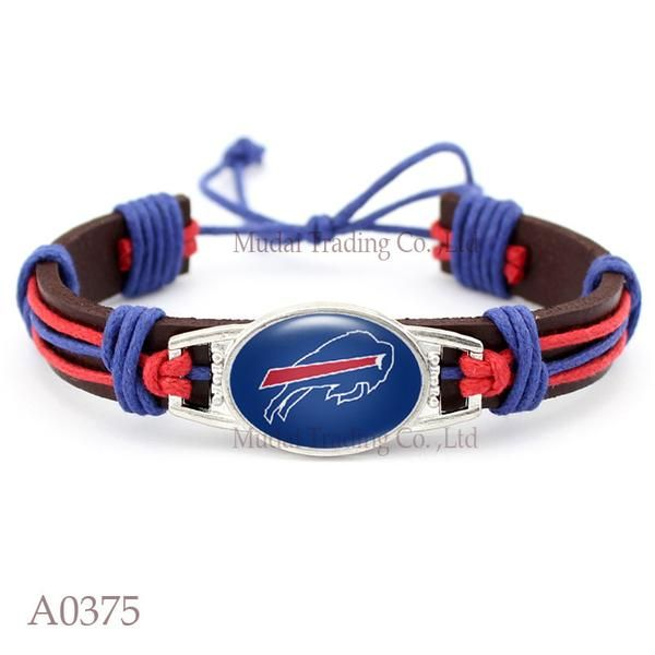 Please Share This Offer Buffalo Bills Leather Cuff Bracelet This fantastic Leather cuff bracelet is designed and handmade with heart and soul. It is fastened together by an adjustable knot making it f