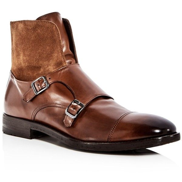 To Boot New York Men's Broome Leather & Suede Monkstrap Boots (£340) ❤ liked on Polyvore featuring men's fashion, men's shoes, men's boots, rich brown, mens brown boots, mens boots, mens brown suede shoes, mens brown leather boots and mens leather shoes