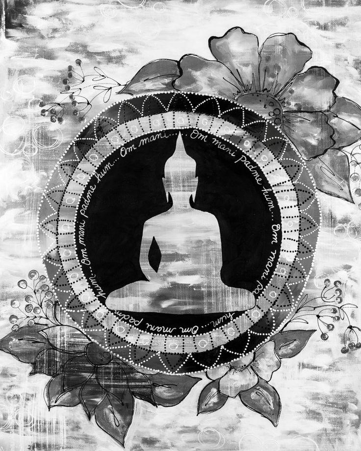Giclée/reproduction noir et blanc Le Bouddha 4 mixed médias de la boutique MarikaLemayArtiste sur Etsy