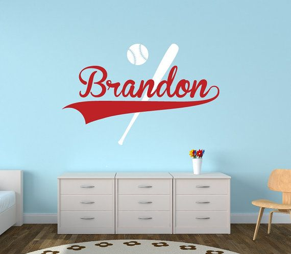 personalized baseball name wall decal boys name wall decal sports wall decal boys room decor teen name vinyl wall decal - Sports Wall Stickers For Bedrooms