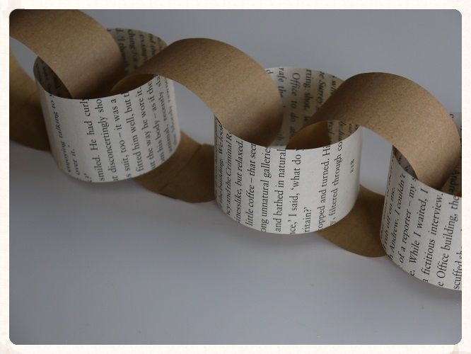 Paper Chains. These unique brown and book style paper chains would look great draped along the ceiling walls or even the back of your chairs. Only £1.99. www.picketfenceweddings.co.uk