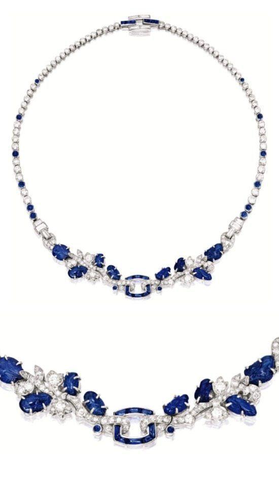 Art Deco sapphire and diamond necklace, Cartier.