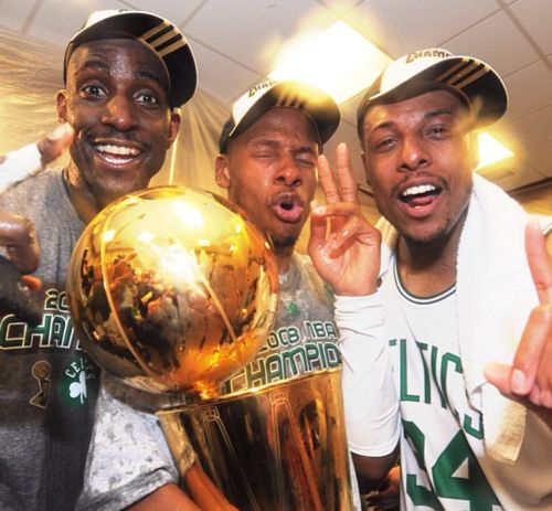 Kevin Garnett, Ray Allen & Paul Pierce the big three! Sad day that it is no more!