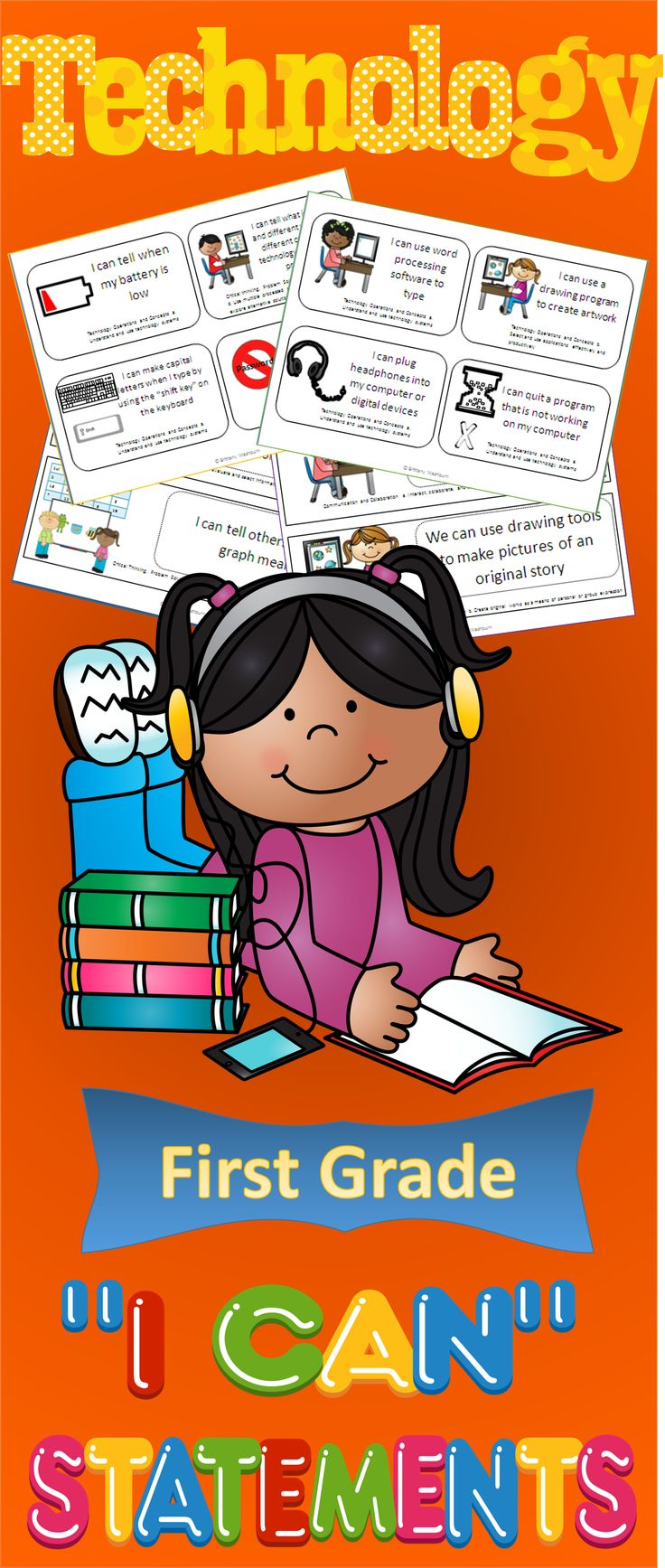 """Technology """"I Can"""" Statements for the First Grade Classroom. These statements will help you incorporate more technology vocabulary into your instruction $"""