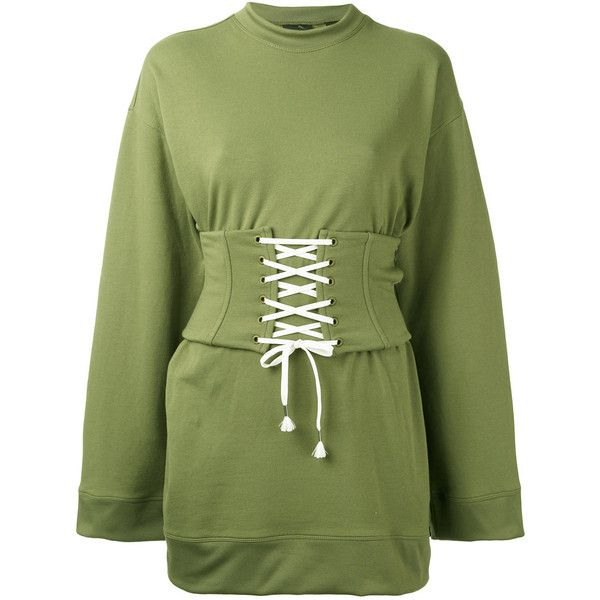 Fenty X Puma corset waist sweatshirt ($999) ❤ liked on Polyvore featuring tops, hoodies, sweatshirts, green, puma top, puma sweatshirt, green corset top, corsette tops and corset tops