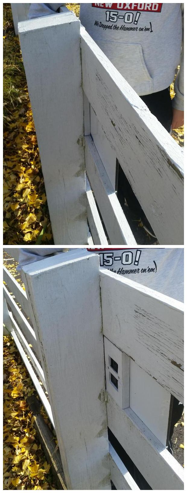 "The old ""behind the fence post"" trick. This is nicely done; a snug fit and painted to blend it well. (pics from Twitter stitched together by I.B. Geocaching and pinned to Cool & Creative Micro Geocaches - pinterest.com/islandbuttons/cool-creative-micro-geocaches/) #IBGCp"