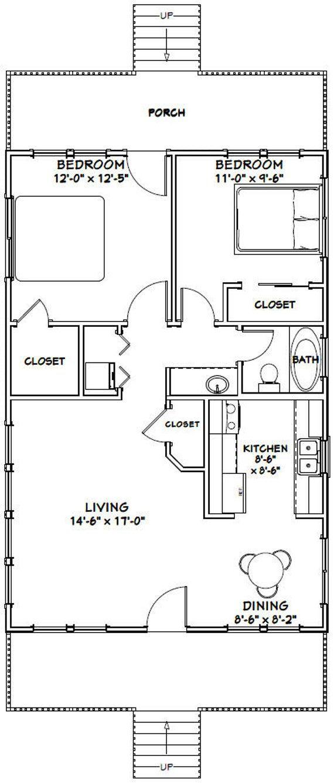 24x36 House 2 Bedroom 1 Bath 864 Sq Ft Pdf Floor Plan Etsy Small House Floor Plans Small House Plans Bedroom House Plans