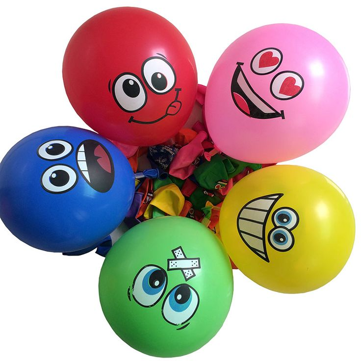 100pcs Big Eyes Smiley Air Balloon, Wedding Decoration Happy Birthday Party Ballons Inflatable Latex Balls Kid Toys 476