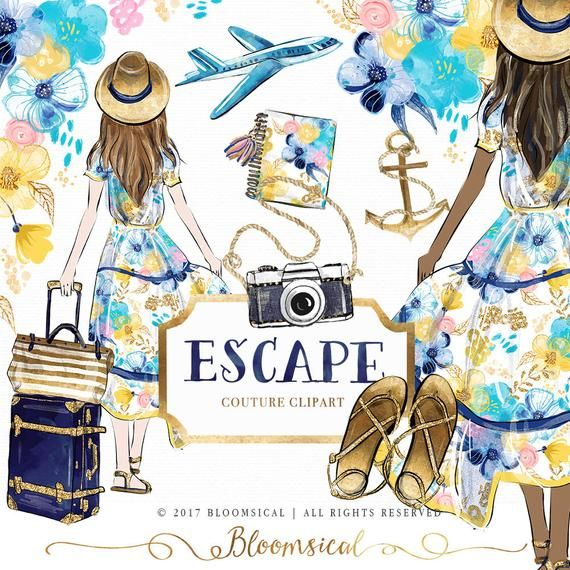 Holiday Escape Clip Art Summer Beach Travel Floral Nautical Digital Graphic Fashion Girl Planner Stickers Digital Resources Cliparts Clip Art Black Friday Fashion Girl Holding Balloons