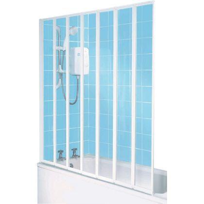 framed 7 fold white shower screen at homebase be. Black Bedroom Furniture Sets. Home Design Ideas