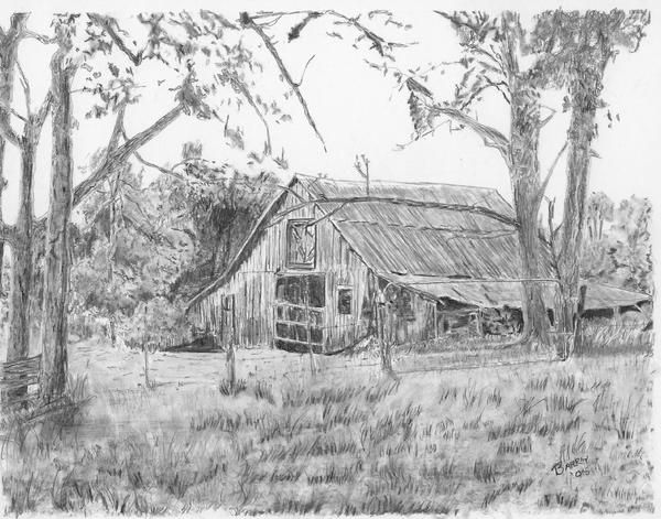 Old Barn 2--Pencil Drawing of an Old Barn.