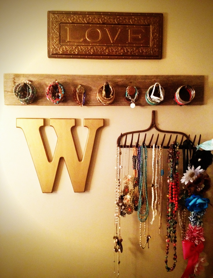 Old rake for a jewelry wall display