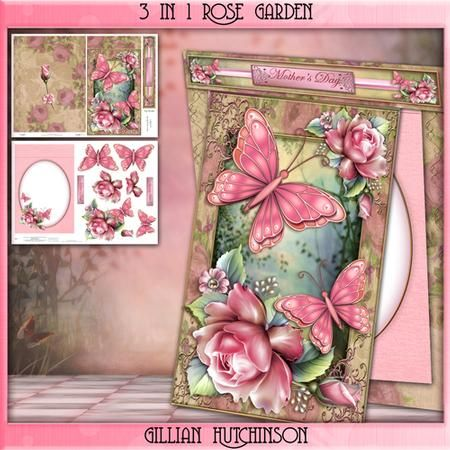 3 in 1 Rose Garden on Craftsuprint designed by Gillian Hutchinson - Stand alone 3 in 1 mini kit with roses