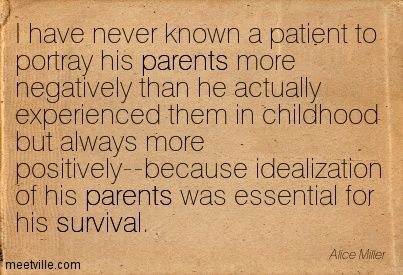 alice miller quotes | Alice Miller : I have never known a patient to portray his parents ...