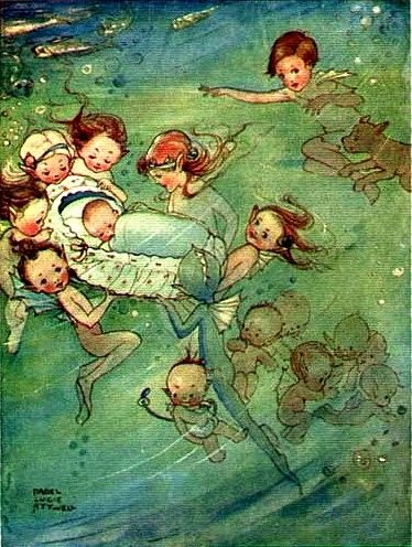 Mabel Lucie Atwell. I think this is to illustrate The Water Babies but there is a mermaid in there!