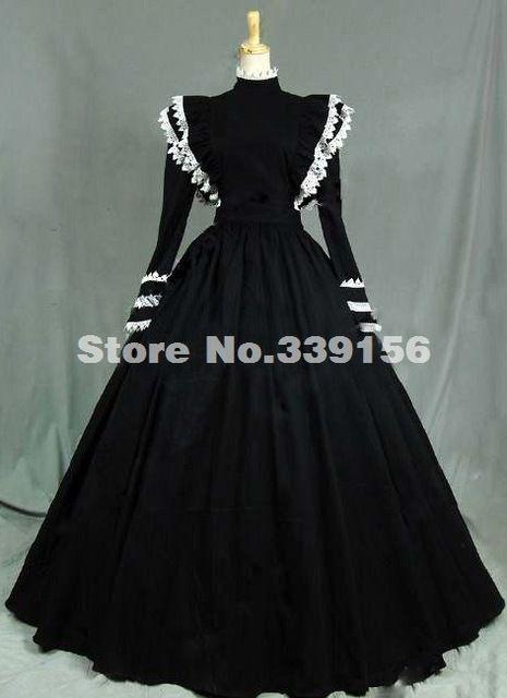 2016 Custom Vintage Zwarte Lange Mouwen Middeleeuwse Renaissance Gothic Victoriaanse Jurken, vrouwen Crazy Halloween Party Baljurken