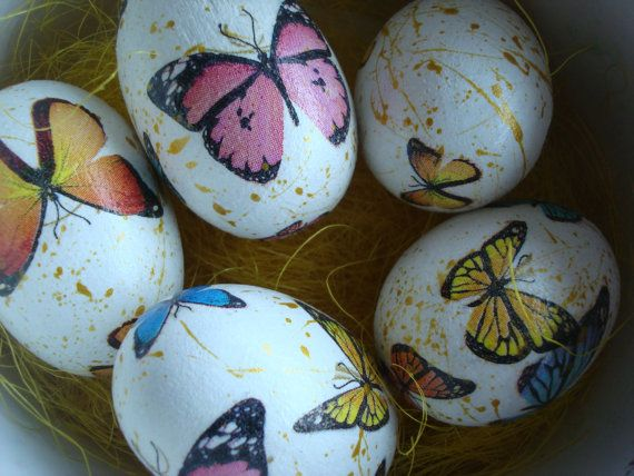 Butterflies easter eggs by Valelval on Etsy