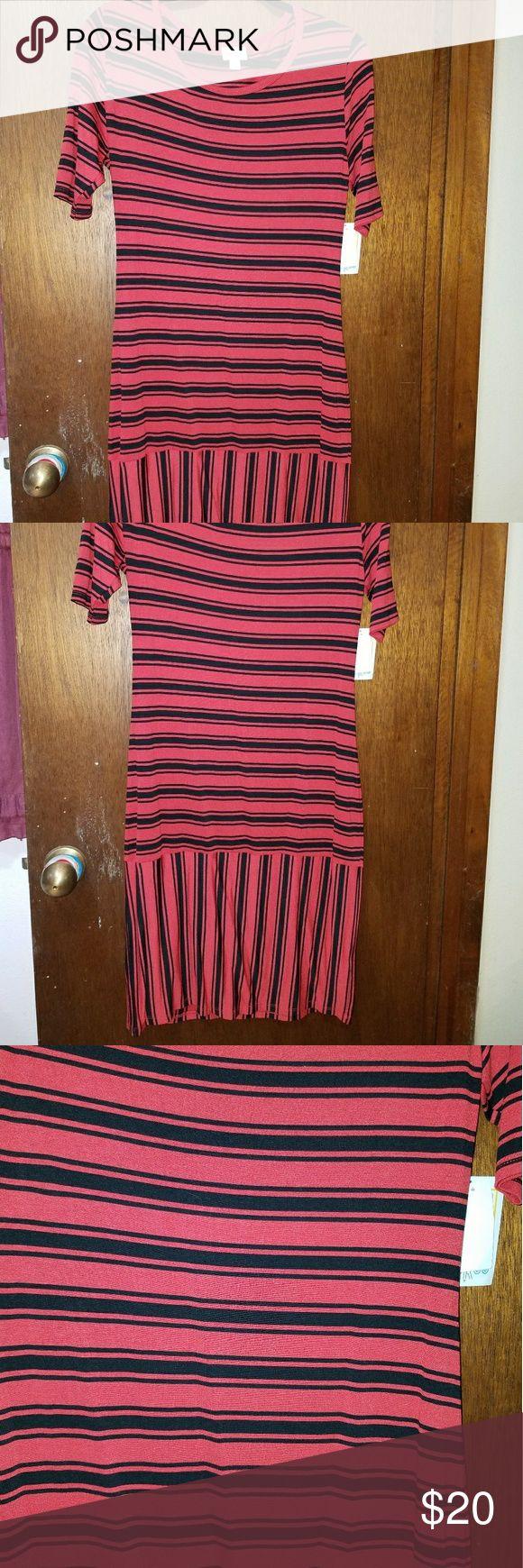 NWTS LuLaRoe Julia dress NWTS LuLaRoe Julia  Size large Soft and stretchy  Red and black stripes horizontal and vertical LuLaRoe Dresses