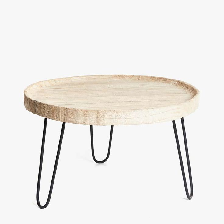 Image 1 of the product ROUND WOODEN SIDE TABLE WITH METAL LEGS