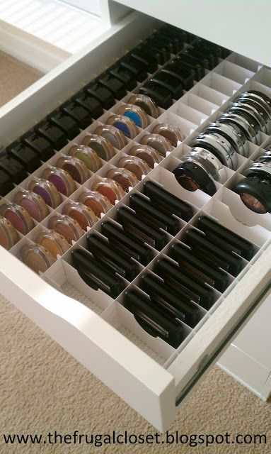 DIY - make up organiser in an Ikea Alex Storage cupboard- see enkore on youtube for how to