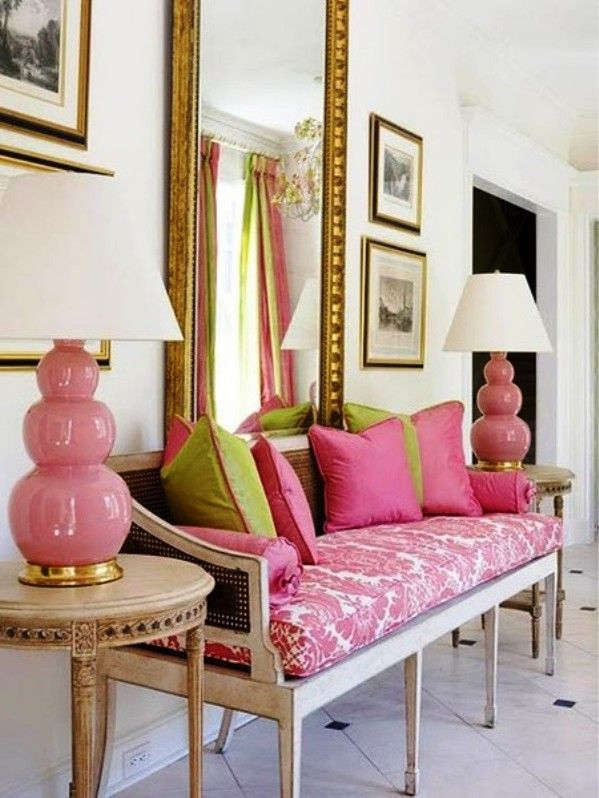 : Interior Design, Decor, Ideas, Pink Lamp, Color, Livingroom, Green, Living Room, House