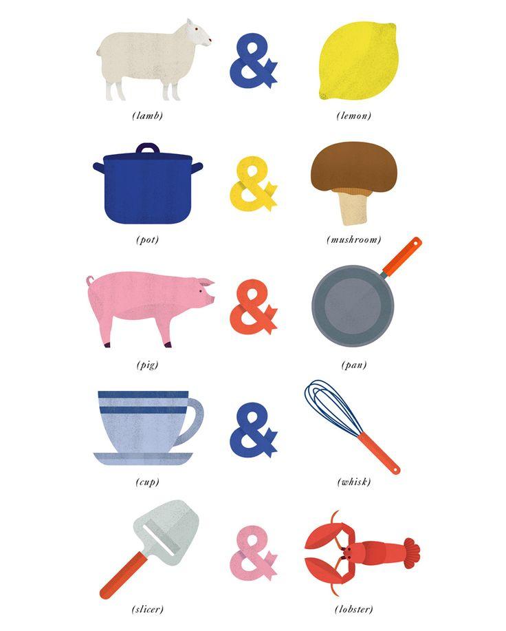 "Menigo illustrations by Lotta Nieminen.    ""Brand identity illustrations for Menigo, a Swedish wholesale food supplier for professionals in the culinary arts."""