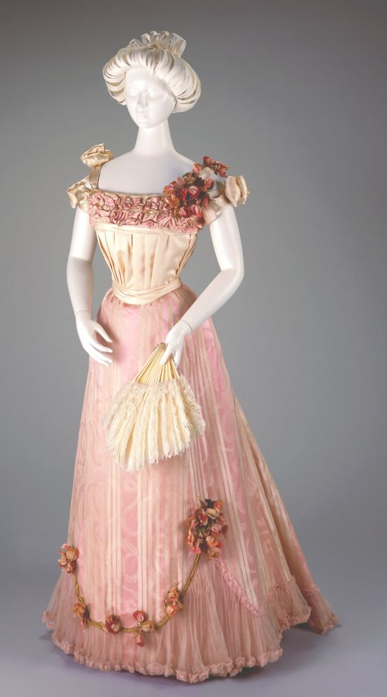 SHADES OF VICTORIAN FASHION: PRETTY IN 19TH CENTURY PINK, via Mimi Matthews. 1898-1901 Pink Silk Evening Dress.(Cincinnati Art Museum)