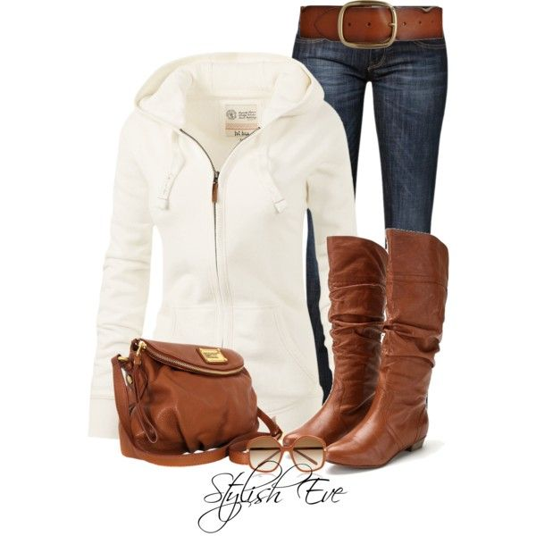 Cute and casual for fall. Skinny jeans, brown boots, white jacket.