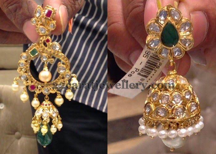 Jewellery Designs: Pachi Work Chandbali and Jhumka
