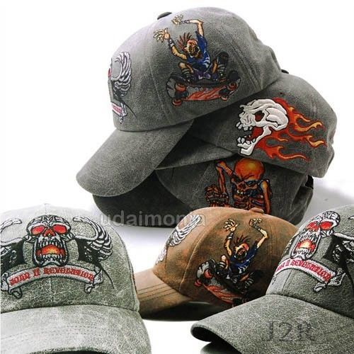 Embroidered Skull Trucker Hat Cap Unique Cracked Skeleton Baseball Hats Caps